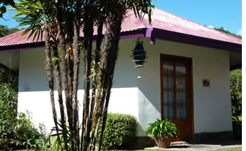 Een van de kleine roundhouses in Isla Verde Boquete